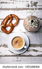 Coffee and pretzel