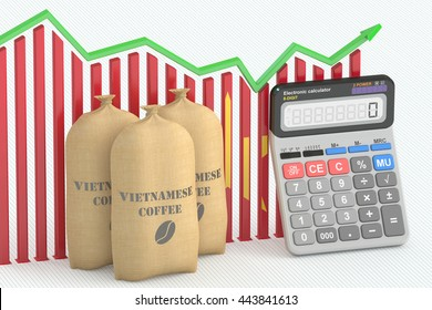 Coffee price and export concept, chart with calculator and Vietnamese coffee bags. 3D rendering