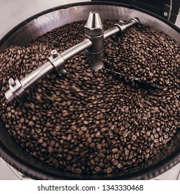 Coffee Roaster Cooling Batch of Beans, vintage toned