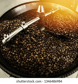 Coffee Roaster Cooling Batch of Beans, vintage toned, artificial light