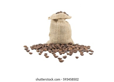 Coffee sack with beans. Isolated coffee bag on white background. Coffee beans isolated.