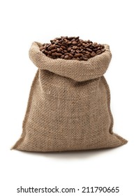 coffee sack on white background/ coffee beans/ coffee bag