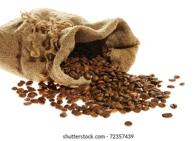 Coffee in a sack and spilled on the white background