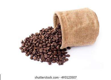 coffee sacks white background