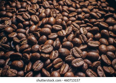 coffee seed,Coffee beans on wood background