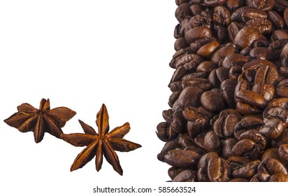 coffee seeds and star anise on a white background close-up