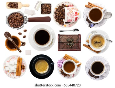 Coffee Set Isolated on White Background. Contain cups of coffee, sugar cubes, cinnamon sticks, coffee beans, teaspoon, box, scoop