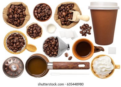 Coffee Set Isolated on White Background. Contain cup, sugar cubes, beans, milk, pot, bag with coffee beans and scoop