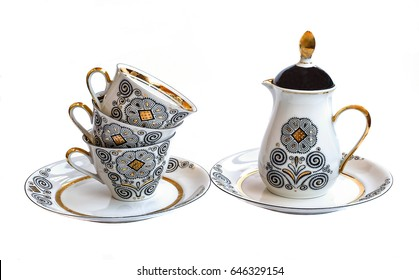 coffee set, top, porcelain coffee pot, Cups ,saucers, crockery for coffee, white background
