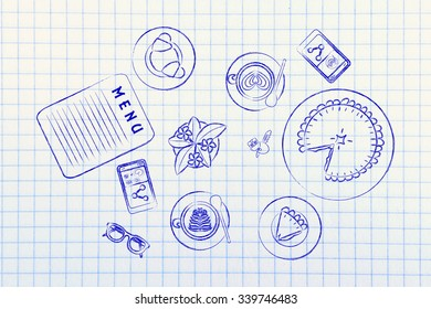 coffee shop or bar table with latte art cups, bakery and pie (flat illustration)