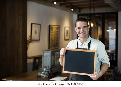 Coffee Shop Cafe Restaurant Blackboard Copy Space Concept
