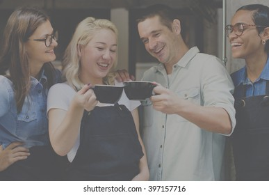 Coffee Shop Drinks Friendship Togetherness Cheers Concept
