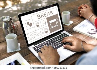 Coffee shop illustration advertisement on laptop