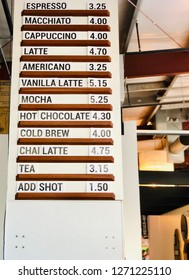 Coffee Shop Menu with Drink Names and Prices in Cafe