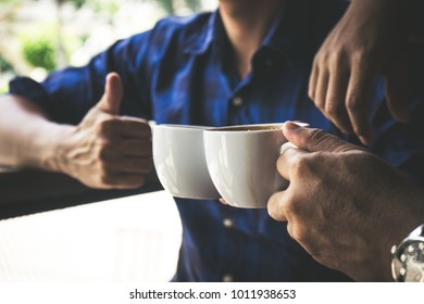 In coffee shop, people meeting friendship togetherness for work and discussion in coffee shop, selective focus