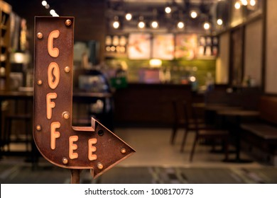 Coffee shop signboard, in front of the store