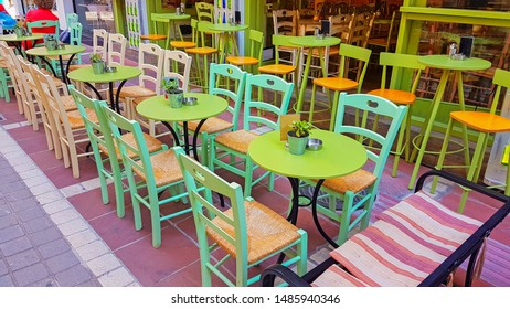 coffee shop tables and chairs outdoor place in ioannina city greece