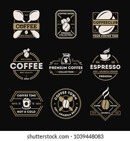 Coffee shop vintage isolated label set illustration. Best quality, premium collection icon. Coffee club symbol. Espresso, arabica beans logo. Hot and cold drink sign. Coffee time concept.