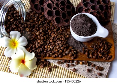 Coffee skin scrub for spa.
