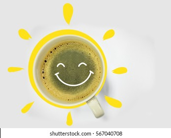 Coffee smile and sun on white background good morning concept