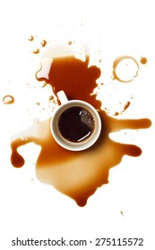 coffee spill stain accident drop white background flat lay