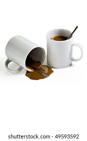 Coffee Spill From Two WHite Mugs on White Background