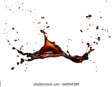 Coffee splash with drops