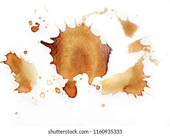 Coffee stain isolated on white paper background.
