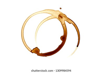 Coffee stain on white background.