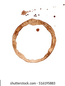 Coffee stain on white background, closeup