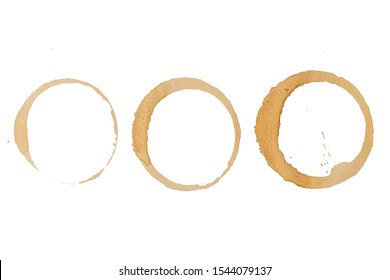 Coffee stains cups rings on a paper, Isolated on white background