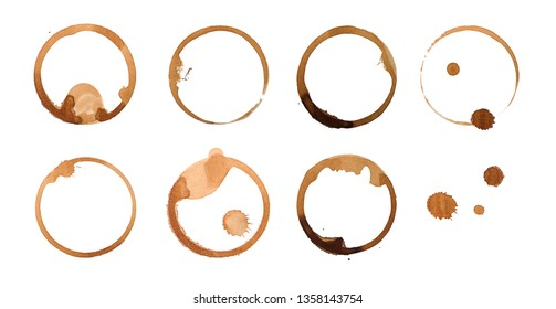 Coffee stains isolated on white background.