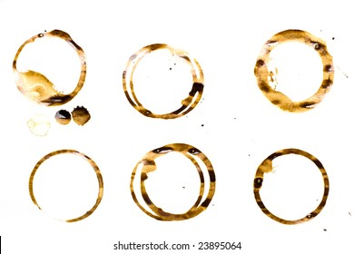 coffee stains isolated over white background