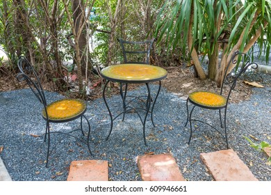 Coffee steel table in the garden