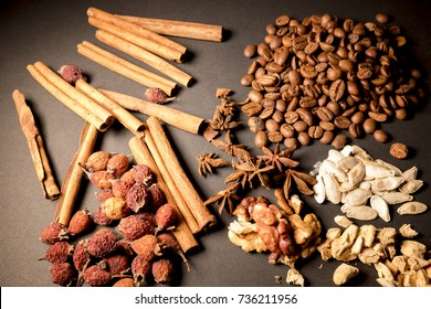 coffee, still life with coffee, cinnamon and nuts