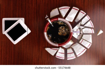 Coffee and sugar composition with copy space