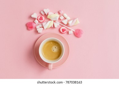 coffee with sweets for Valentive day