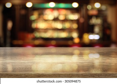 coffee table in bar and space for your decoration of bottle and glass