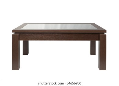 Coffee table dark wood isolated on white.