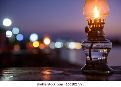 Coffee table lamp by the river at dusk.
