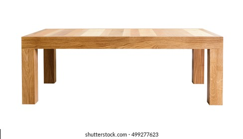 Coffee table with top made of different kinds of wood. White background, isolated