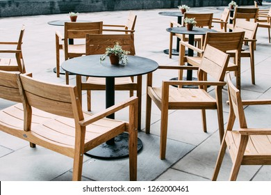 Coffee tables and chairs outside