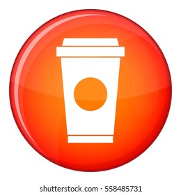 Coffee in take away cup icon in red circle isolated on white background  illustration