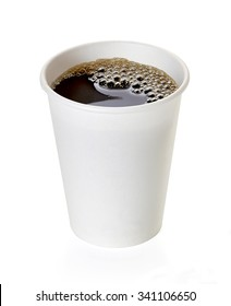 Coffee in takeaway cup isolated on white background
