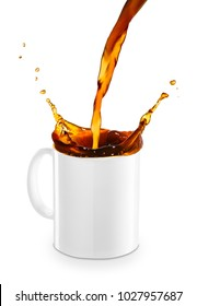 coffee or tea pouring into mug creating splashes isolated on white background