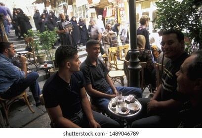 a coffee or teahouse in the market or souq in the old town in the city of Damaskus in Syria in the middle east.    Syria, Damascus, October. 2005