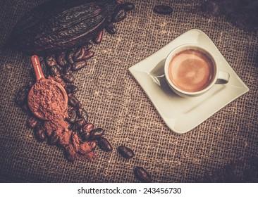 Coffee theme still-life on sackcloth