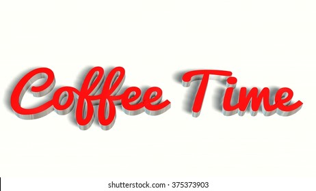 coffee time -  3D handwrite lettering