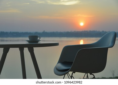Coffee time in morning vacation. (Background is river)