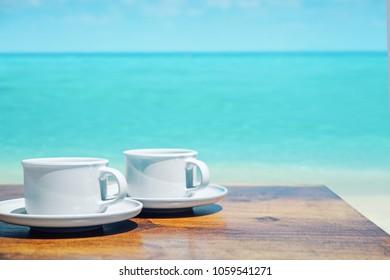 Coffee time on a tropical beach